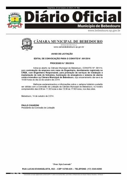 Carta convite nº 001 2014