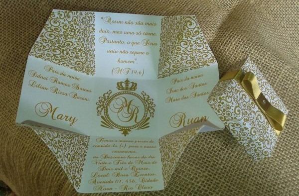 100 convites caixa casamento branco dourado+200 individuais
