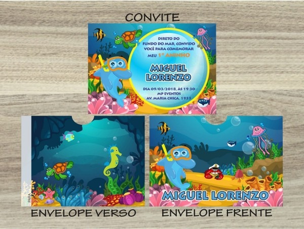 100 convites infantil fundo do mar envelope personalizado