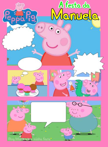 Montando Minha Festa  Como Fazer Convite Gibi Peppa Pig No