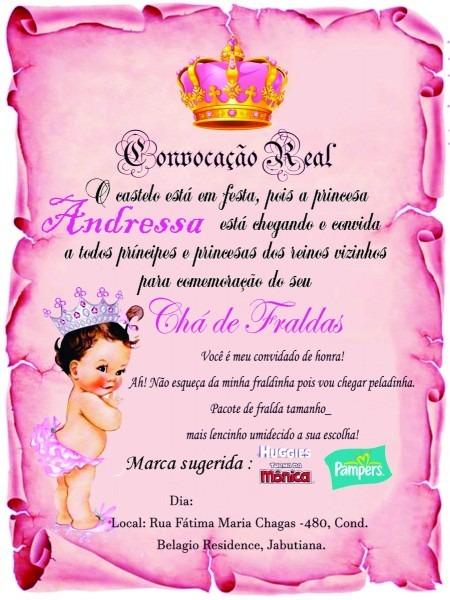 10 convites pergaminho realeza, chá de bebê, com tags e fita