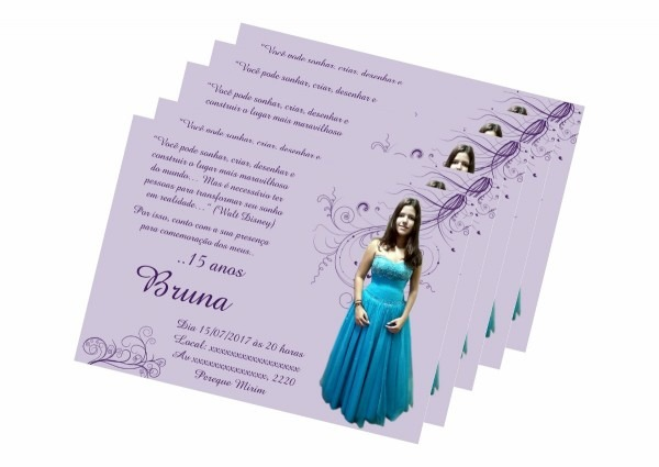 110 convites personalizados aniversário 15 anos + envelopes