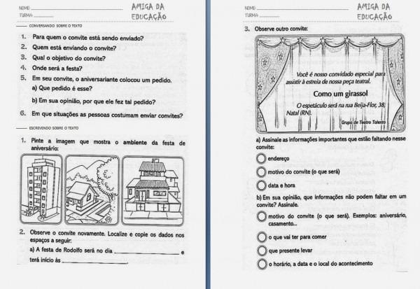 Amiga da educaÇÃo   atividade com gÊnero textual convite 2º ano