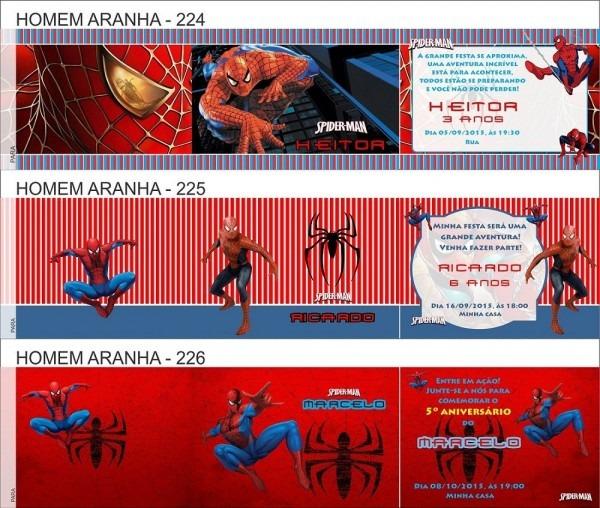 120 convites infantil homem aranha envelope personalizado