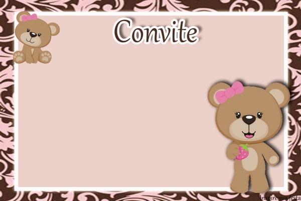 Ursinha rosa com marrom kit festa grátis para imprimir – inspire