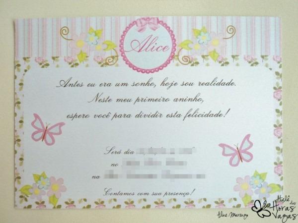 Convite provençal floral jardim encantado menina aniversário 1