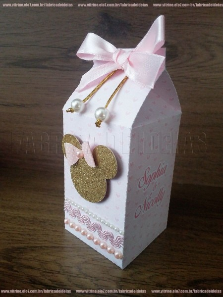 Milk box minnie rosa luxo