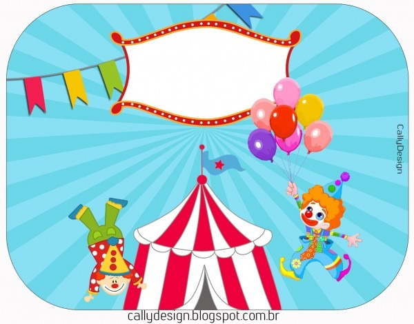 Kit circo para imprimir, rótulos, convite ingresso, caixinhas