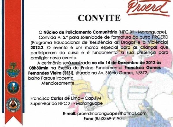 Convite formatura do proerd 2012 2 maranguape