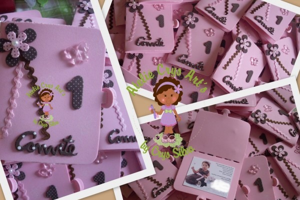 Atelie crys art's  convites marrom e rosa!