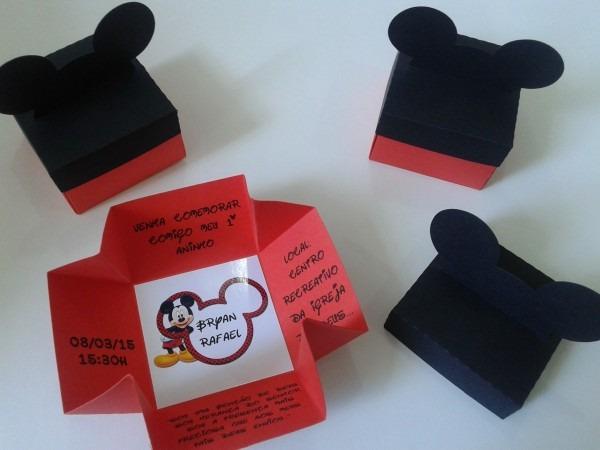 20 convite caixa caixinha mickey minnie