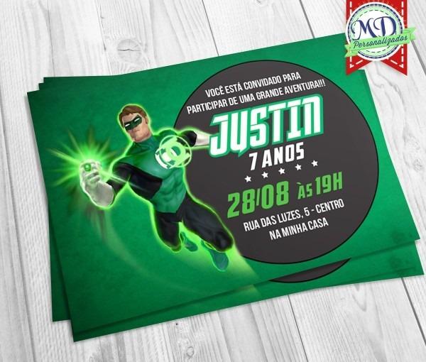 20 Convite Personalizado Aniversário Lanterna Verde Tag