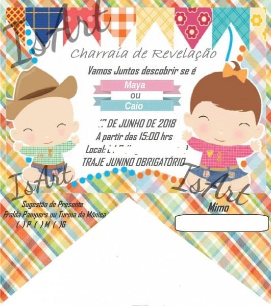 20 convites junino para charraia, chá de bebe, aniversário