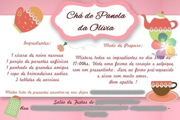 Convite Chá De Panela Criativo