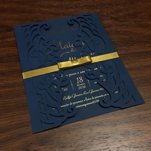 2 convites de casamento corte a laser azul marinho
