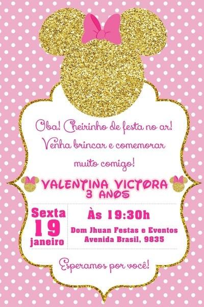 30 convites minnie rosa e dourado