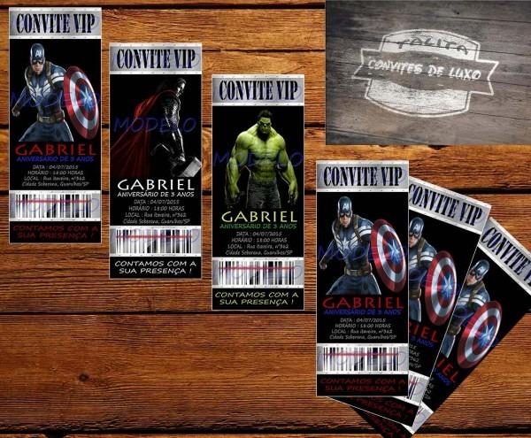 30 convites vip vingadores  papel fotográfico alta qualidade