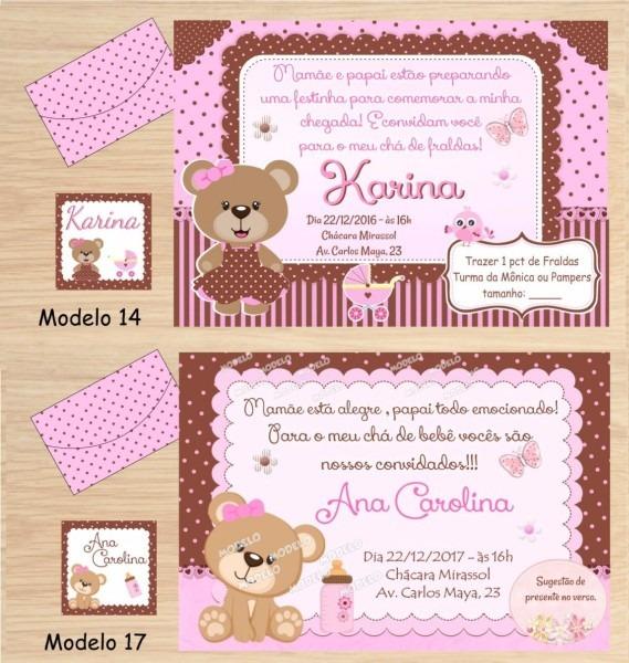 32 Convites Chá Bebê Menina   Chá Fraldas