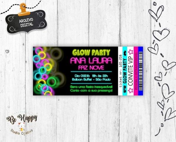 Convite digital festa neon ingresso