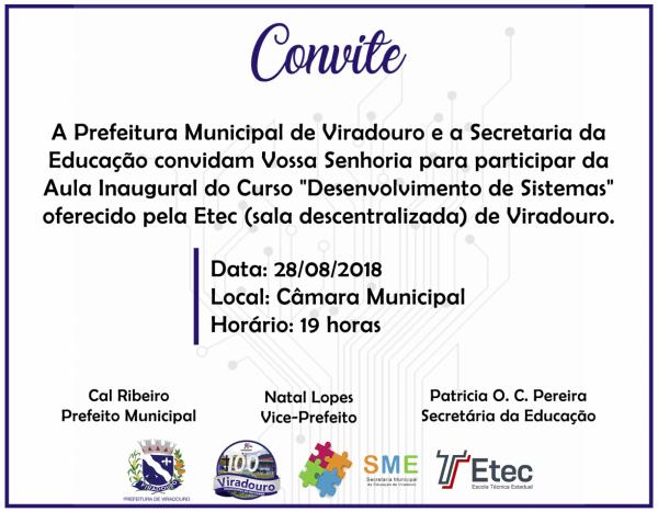 Convite Aula Inaugural Da Etec