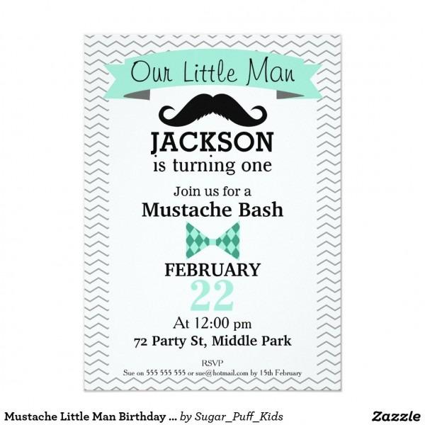 Mustache Little Man Birthday Party Invitation In 2018