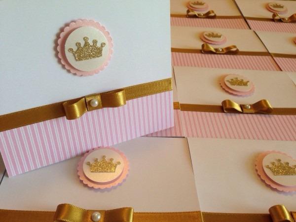 40und convites princesa reinado coroa rosa liso e dourado