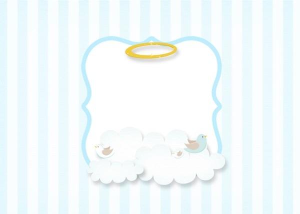 Convite 5 batizado azul claro