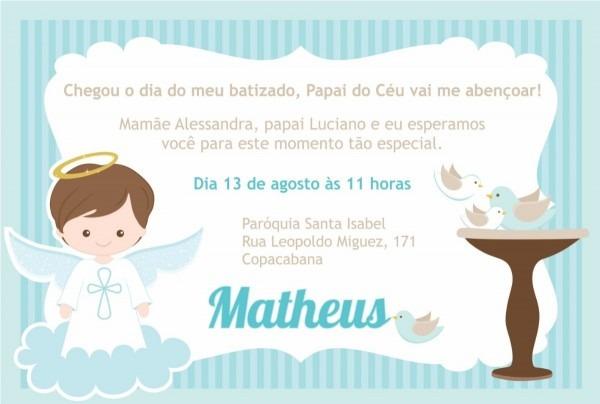 50 convites batizado menino batismo