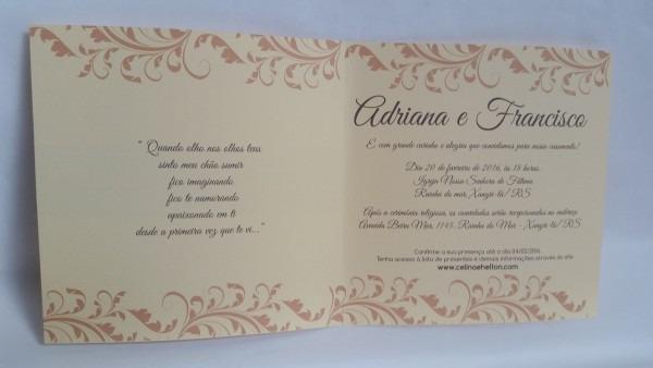 50 Convites Casamento Classico Papel 180g Textura