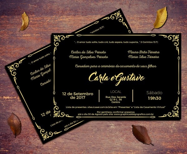 50 Convites Casamento Preto E Dourado 10x15cm Com Envelope