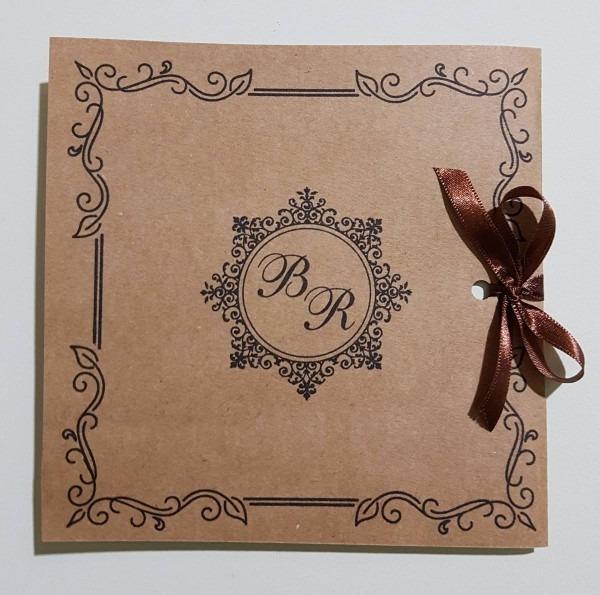 50 convites casamento rustico com cetim (papel kraft)