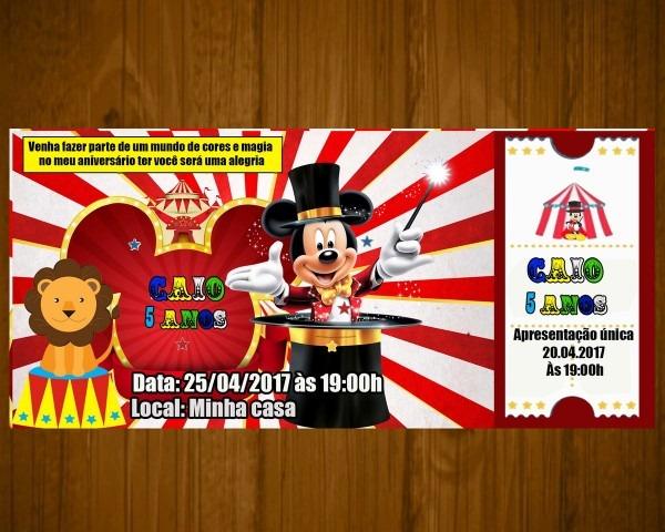 50 convites circo mickey ingresso frete gratis no elo7