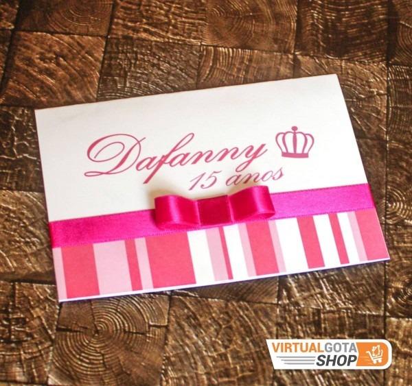 50 convites de aniversário 15 anos infantil rosa pink laço