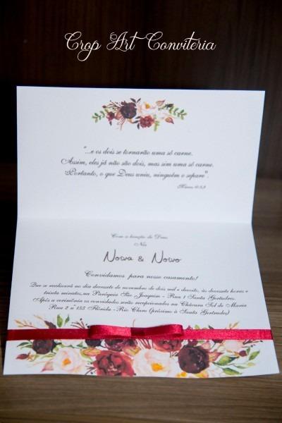 50 convites de casamento marsala e floral barato