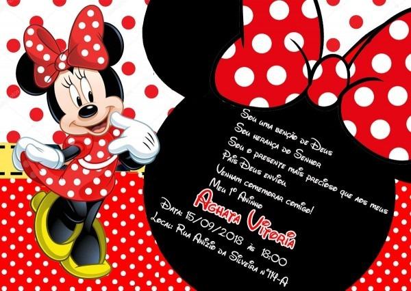 50 convites minnie vermelha infantil personalizado