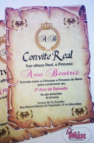50 convites pergaminho de princesa príncipe festa real
