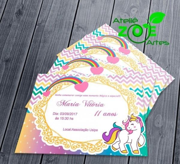 50 convites personalizados aniversário infantil unicornio