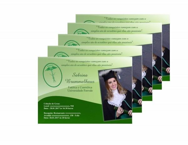 50 convites personalizados para formatura + envelopes