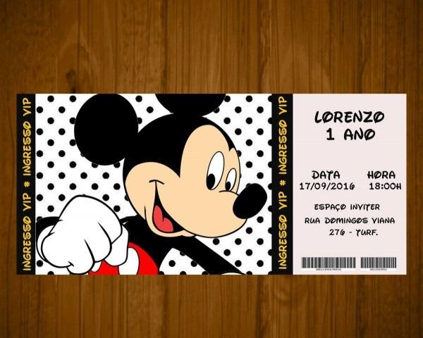 50 convites tema mickey personalizado infantil