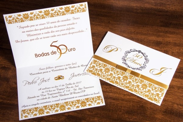 55 convite bodas de ouro + 130 individuais