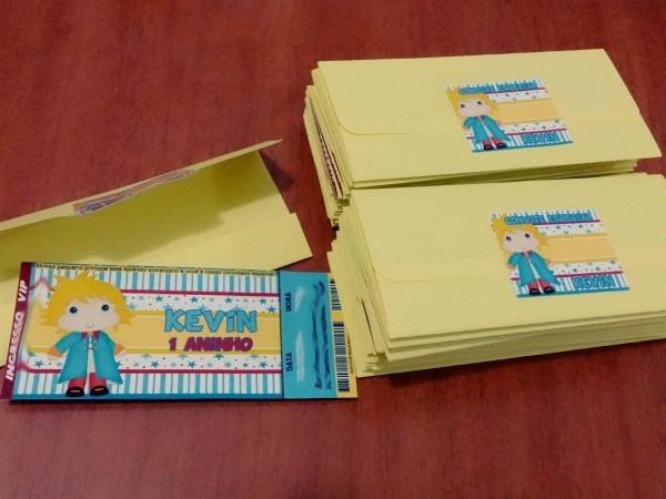 60 convite ingresso vip aniversário com envelope e adesivos