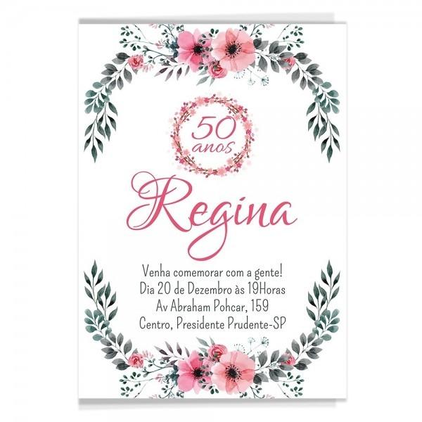 60 Convites Aniversário Adulto Florais + Brinde