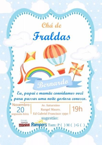 60 convites personalizados chá de bebê ou fraldas