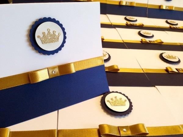 60und convite reinado príncipe azul marinho liso com dourado