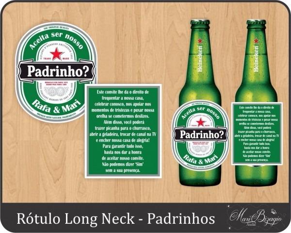 6 rótulos personalizado convite padrinhos long neck cerveja