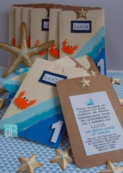 Convite temático para festa infantil tema oceano, mar, fundo do