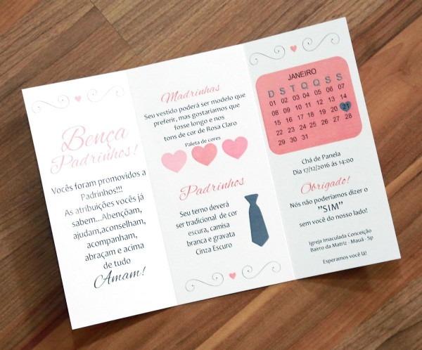 Convite de casamento para padrinhos papel perolado impressão a