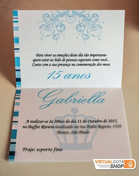 80 convites 15 anos fita laço cetim azul arte personalizada