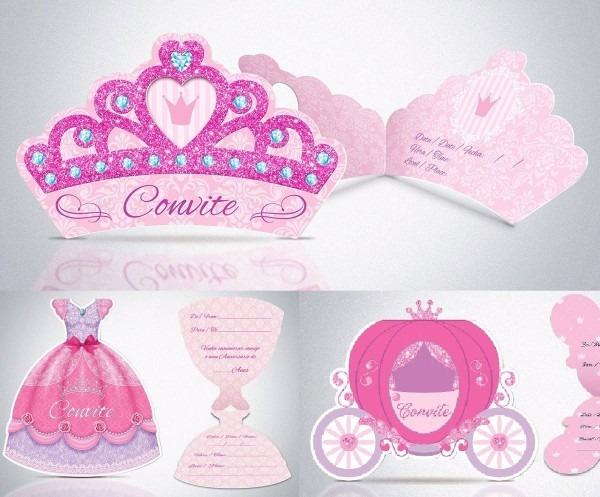 80 convites aniversário princesa coroa  vestido ou carruagem