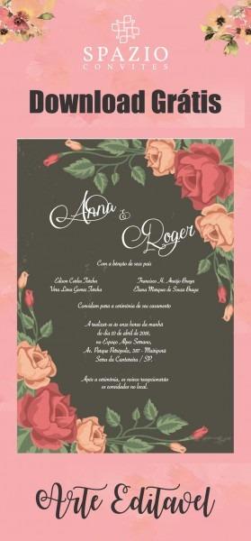 Arte Floral Para Convite De Casamento
